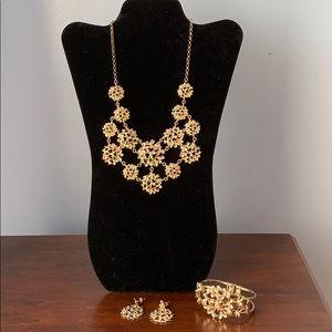 WHBM gold flower necklace and earrings set